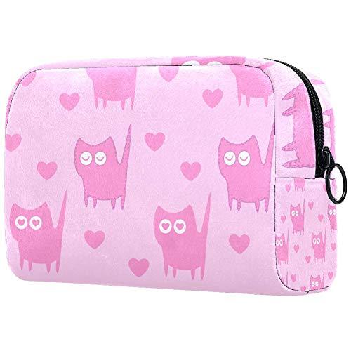 Trousse de toilette portable pour femme avec motif de chat rose