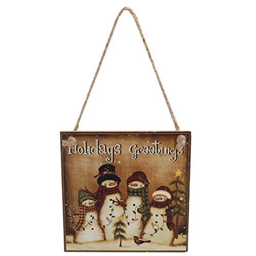 Tinksky Adornos de Navidad en Madera Decoracion Navidad Muñeco de Nieve Placa Decorativa Vintage Retro - Holidays Greetings
