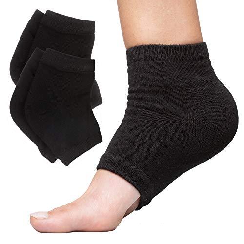 ZenToes Moisturizing Heel Socks 2 Pairs Gel Lined Toeless Spa Socks to Heal and Treat Dry, Cracked Heels While You Sleep (Regular, Black)