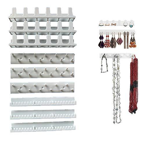 9 Piezas Bisutería Ganchos Adhesivos, Soporte de Almacenamiento de Joyas , Soporte de Plástico para Colgar Colgantes para Collares,Ganchos Autoadhesivos para Almacenar Joyas