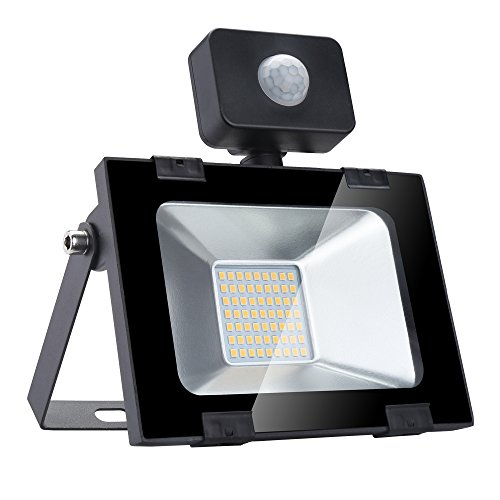 Sararoom 30W Foco LED Exterior,Con Sensor Movimiento Proyector LED Exterior,IP65 Impermeable Floodlight,Para Jardín,Garaje,Estadio,Fábrica,Almacén,3000LM,3200K Blanco Cálido
