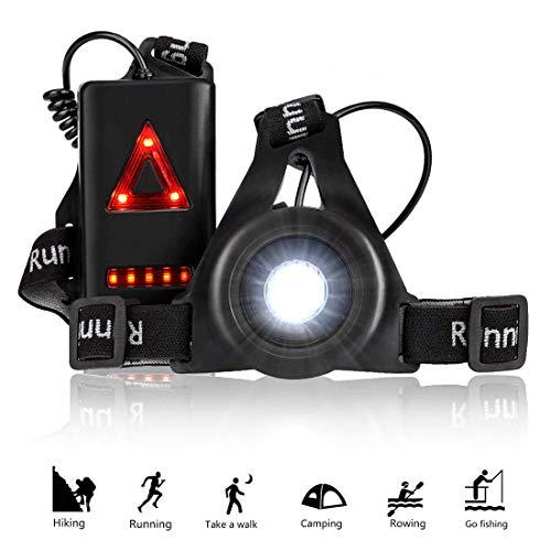 CaaWoo Running Light Ricaricabile USB, Running Light Lampada Corsa con Luce di Avvertimento Dietro Perfetto, Impermeabile 3 modalità per Camminare, Campeggio, Lettura, Corsa, Pesca, Arrampicata