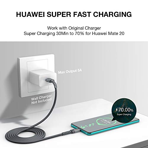 JSAUX USB Typ C Kabel 5A [1M 2 Stück] Schnell Ladekabel für Huawei Mate 30 P30 P20 P10 Pro Mate 20 P20 Lite Mate10 Mate 9 P10 P9 Plus MediaPad M6 M5 Pro Nova4 Nova5 Pro Nova2 Plus Supercharge - Grau - 2