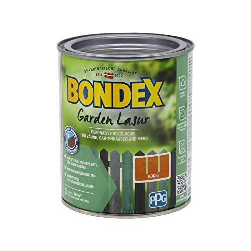 Bondex Garden - Barniz decorativo para madera con protección UV y resistente a la intemperie para exterior (0,75 L), color miel