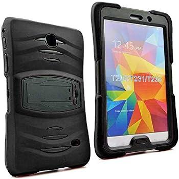 Galaxy Tab 4 7.0 2014 T230 Case, KIQ Shockproof Heavy Duty Dual-Layer Full-Body Rugged Kickstand Screen Protector Case Cover for Samsung Galaxy Tab 4 7-inch SM-T230 (Armor Black)