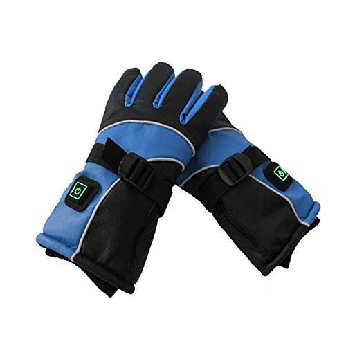 Guanti riscaldati Guanti riscaldati Uomini Donne Touch-Screen Gloves batteria elettrica ricaricabile scaldamani for Sci Equitazione Neve lavoro (blu) per sciare a piedi arrampicata guida scaldamani