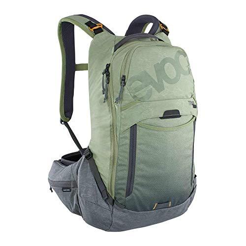 EVOC TRAIL PRO 16l Protektor Rucksack für Tagestouren & Trailriding (Größe: S/M, LITESHIELD PLUS Rückenprotektor, extrem leicht, breite Hüftflossen, 3l Trinkblasenfach), Olive / Carbon Grau
