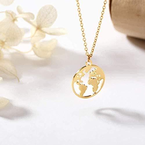 LBBYMX Co.,ltd Collar de Moda Collar Redondo geométrico Vintage Origami Mapa del Mundo Planeta Tierra Collares Pendientes para Mujeres Círculo Étnico Simple Gargantilla Joyería