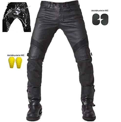 Herren Wasserdicht Motorradhose PU-Beschichtung Jean Motorrad Hose Motorradrüstung Schutzauskleidung Motorcycle Biker Pants -Schwarz (S- (Waist 31.5