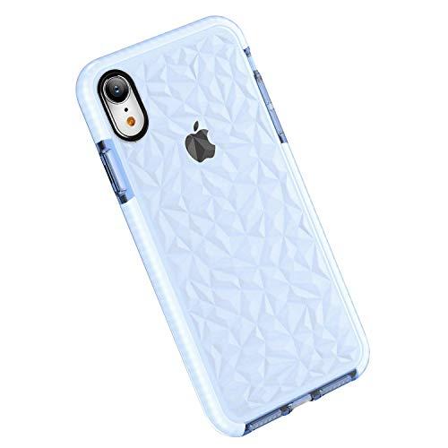 Funda iPhone XR, Carcasa Silicona Transparente Protector TPU Airbag Anti-Choque Ultra-Delgado Anti-arañazos Case 3D Modelo Geométrico de Diamante Funda para Teléfono (iPhone XR, Violeta Claro)