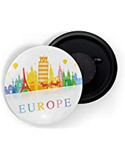 dhcrafts Fridge Magnet White Color Famous Places Glossy Finish Design Pack of 1