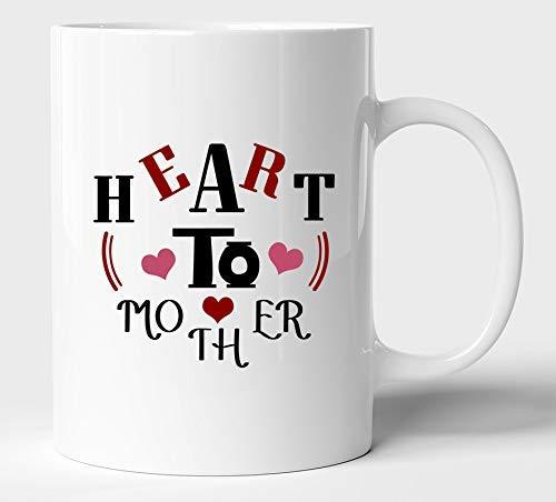 Taza de café de cerámica de diseño único de corazón a madre, tazas multicolores o taza de té / leche, los mejores regalos, regalo de San Valentín para niñas, hombres, esposo, esposa (11 oz; blanco)