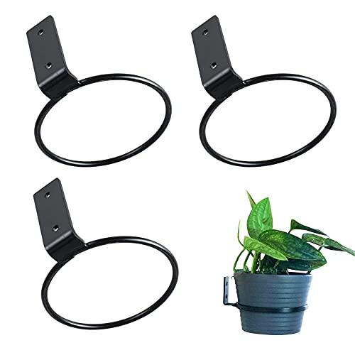 opamoo 3 macetas de Metal con Anillo Soportes para macetasmacetas Estante De Hierro Negro Soportes, para Planta Estante Simple Balcón Jardín Aros de Flores Estante Soporte de Pared