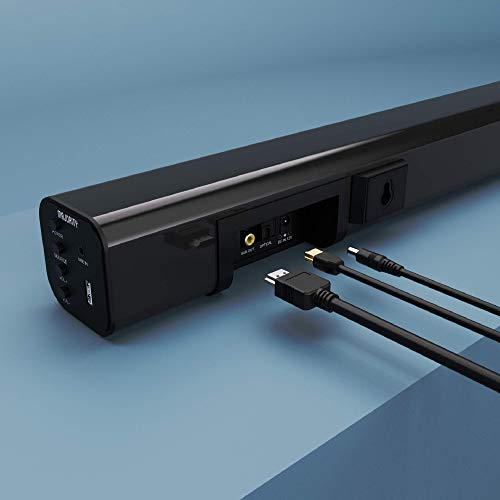 Majority K2 150W Soundbar Surround Sound System - Wireless Subwoofer - Bluetooth - HDMI ARC (CEC) - Large Remote Control - AUX - USB - FM Radio - Optical Input - includes RCA + HDMI cables (Black)