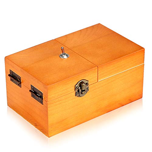 Calary Useless Box Turns Itself Off In Wooden Storage Box Alone Machine Fully Assembled in Box Gifts for Adults and Children