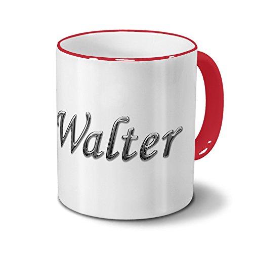 printplanet Tasse mit Namen Walter - Motiv Chrom-Schriftzug - Namenstasse, Kaffeebecher, Mug, Becher, Kaffeetasse - Farbe Rot