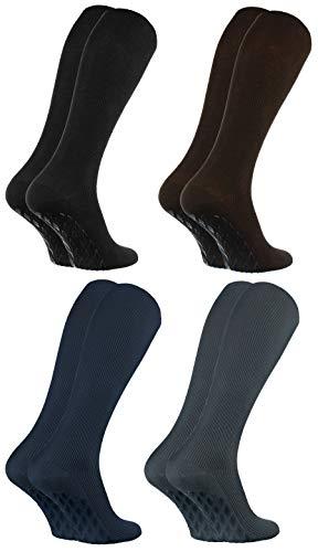 Rainbow Socks - Damen Herren Anti Rutsch Diabetiker Kniestrümpfe - 4 Paar - Schwarz, Braun, Dunkelblau, Graphit - Größen 44-46