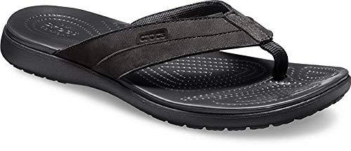 crocs Herren Santa Cruz Leather Flip M Dusch-& Badeschuhe, Schwarz Black 060b, 45/46 EU
