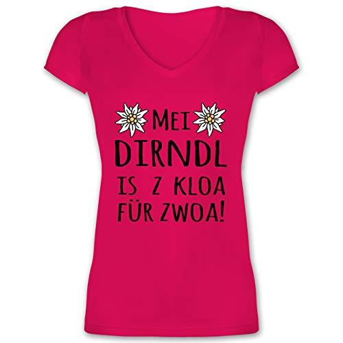 Oktoberfest Damen - MEI Dirndl is z kloa für zwoa! schwarz - 3XL - Fuchsia - Kurzarm - XO1525 - Damen T-Shirt mit V-Ausschnitt