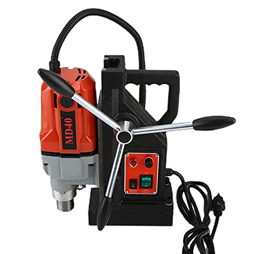 VEAREAR Portable Lightweight 1100W 110V Drill Press, Maximum Drilling Diameter 8/5 inches(40mm),Magnetic Drill Press Precision Metal Surface Drilling System Portable