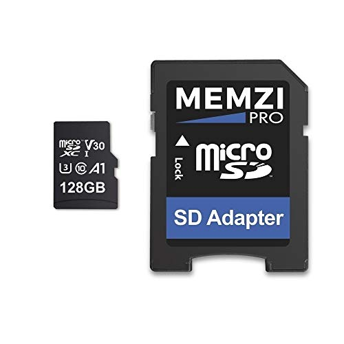 MEMZI PRO 128 GB Speicherkarte Kompatibel für Apeman Trawo A100, A87, A80, A79, A77 Action-Kameras - microSDXC 100 MB/s Klasse 10 A1 V30 Schnell 4K Aufnahm mit SD Adapter