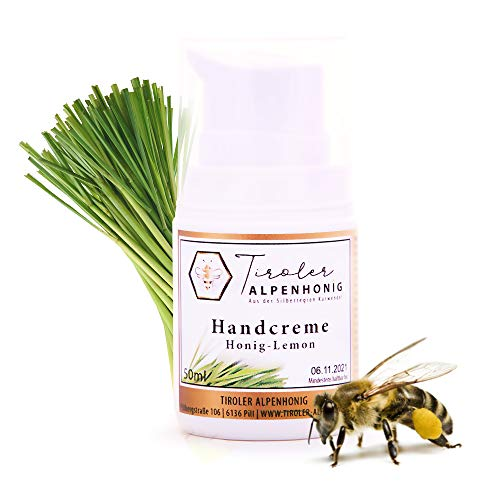 Handcreme Honig Lemon in BIO Qualität, 100% natürliche Handpflege mit Honig und Bienenwachs, hergestellt in den Tiroler Bergen (1 Stück Creme 50ml)