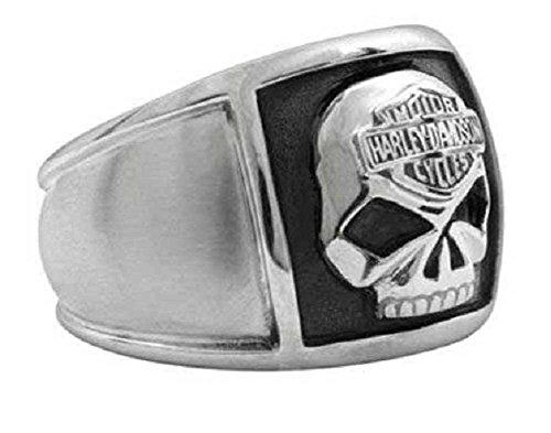 Harley-Davidson Men's Bar & Shield Skull Cigar Band Ring Stainless Steel HSR0020