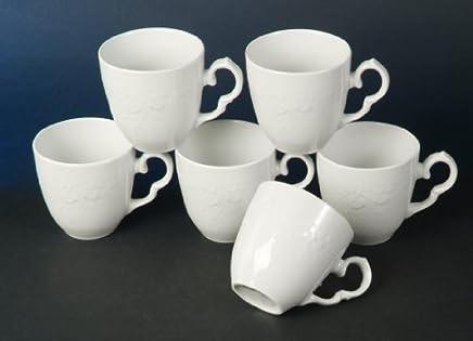 Preisvergleich für Frederike Weiss 6 Kaffeebecher Mug Neu New Relief Luxus Design Classic Porzellan Geschirr für 6 Personen