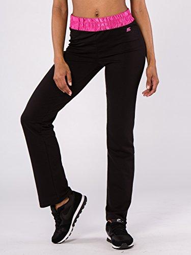 BODYCROSS Pantalon Femme Noir/Fushia Training, Lifestyle - Polyester/Coton/Spandex - Coupe Large, Ceinture Élastiquée Large