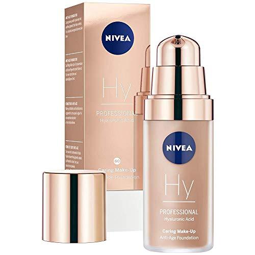 NIVEA PROFESSIONAL Ácido hialurónico, base de maquillaje profesional, 60C, pieles claras, maquillaje antiedad para reducir las arrugas, base para maquillaje con triple efecto antiedad, 1 x 30 ml