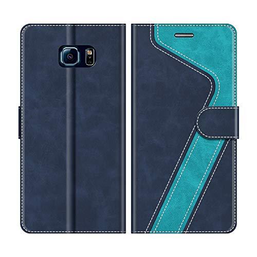 MOBESV Coque pour Samsung Galaxy S6 Edge, Housse en Cuir Samsung Galaxy S6 Edge, Étui Téléphone Samsung Galaxy S6 Edge Magnétique Etui Housse pour Samsung Galaxy S6 Edge, Élégant Bleu