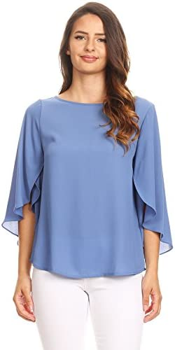 Via Jay Relaxed Comfy Fit 3 4 Open Flutter Sleeve Blouse TOP X Large Denim Blue product image