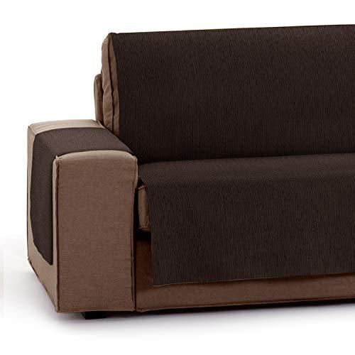 Vipalia Protector Funda para Sofa Ajustable. Cubresofas adaptables. Funda Sofa 3 plazas Antimanchas Chenilla Lisa. Color Marron. Cubre Sofa 3 plazas (155 cm)