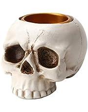 OSALADI Esqueleto Calavera Candelabro Titular de La Vela de Halloween Soporte de Luz de Té Resina Esqueleto Adorno para El Hogar Decoración de La Barra