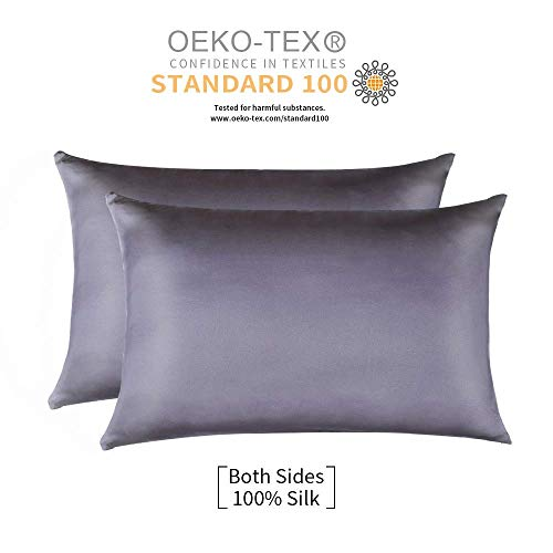 Jocoku 100% Mulberry Silk Pillowcases Set of 2 for Hair and Skin and Super Soft and Breathable Standard Size Nature Silk Pillowcases (Standard, Gray)