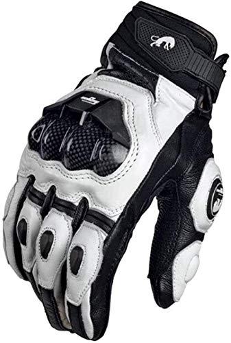XXY Guantes Impermeables térmicas Guantes De Motocicleta Black Racing Cuero Moto Blanco Carretera Racing Equipo Guante Hombres Verano Invierno (Color : Leather White, Size : M)