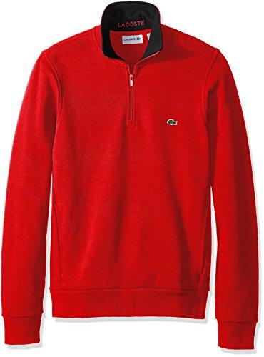 Lacoste Herren Sweatshirt, halber Reißverschluss, leicht -  Rot -  Large