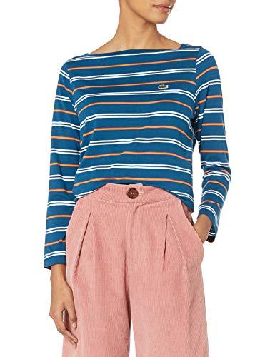 Lacoste Womens Long Sleeve Boat Neck Cotton Modal Clean Striped Tee T-Shirt, Raffia Matting/Flour/Abricotine/Fairground Pink, 4