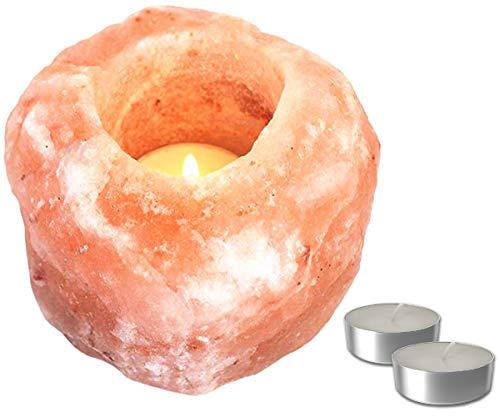 Set Portavelas de Sal del Himalaya | Porta Velas Decorativo y Relajante | 1 Piedra de Sal Rosa del Himalaya + 2 Velas de té | Peso Variable de 700 gr. a 1,2 Kg (1 Ud.)