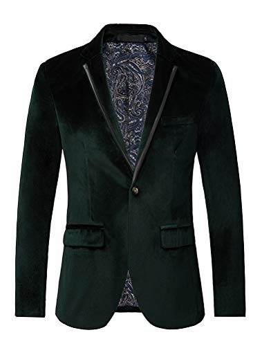 uxcell Men's Suit Jacket One Button Slim Fit Casual Lightweight Sport Coats Blazer Green 42