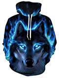 Idgreatim Herren Hoodie Kapuzenpullover Freizeit Personalisierte Sweatshirt Wolf Kapuzenjacke mit Taschen