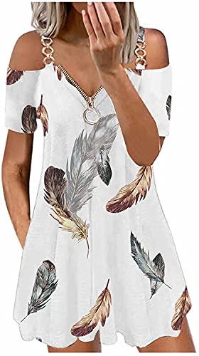 ASKSA Damen Sexy Kleid V-Ausschnitt Reißverschluss Schulterfrei Blusenkleid Sommerkleid Elegant Drucken Kurzarm T-Shirt Knielang Kleider A-Linie Freizeitkleid Strandkleider(Feder Weiß,M)