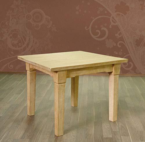 Esstisch mit Fester Platte oder Klappeinlage Esszimmer-Tisch Massivholz-Tisch, Pinie massiv Größe 120 x 80 + 1x Klappeinlage 40 cm, Farbe Pinie Honig