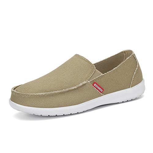 Mishansha Men's Slip-On Canvas Shoes Loafer Casual Lightweight Flats Mule Sneaker Khaki
