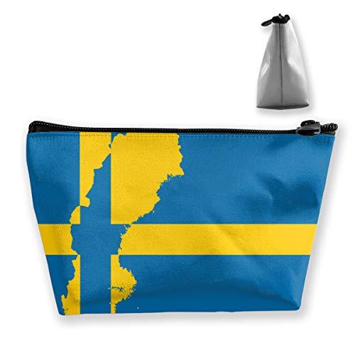 Schweden Flagge Karte Make-up Tasche Kosmetiktaschen Reiseveranstalter Mini Train Case