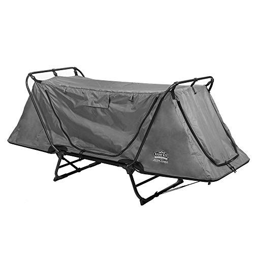 Kamp-Rite Original Portable Cot, Versatile Design Converts into Cot, Chair, or Tent w/Easy Setup, Waterproof Rainfly & Carry Bag Included, Gray
