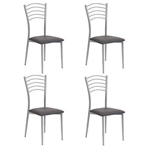 Noorsk Design Lote de 4 sillas de Cocina Turín (Gris)