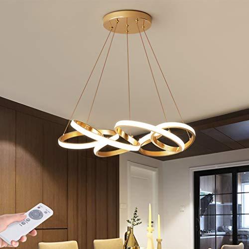 Modern 65W Pendellampe LED Dimmbar mit Fernbedienung Golden Aluminium Designer-Lampe Pendelleuchte Esszimmer Esstisch Wohnzimmer Schlafzimmer Büro Höheverstellbar Hängelampe,65cm/78W