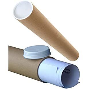 "50 Small Brown Cardboard Postal Mailing Tubes + FREE Plastic End Caps - Long A/3 Size 330mm x 50mm 2"" Diamater x 13"" Length Packaging Packing Shipping Postage Poster Document Mailer Rolls"