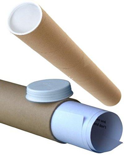 5 Large Brown Cardboard Postal Mailing Tubes INCLUDING Plastic End Caps -...